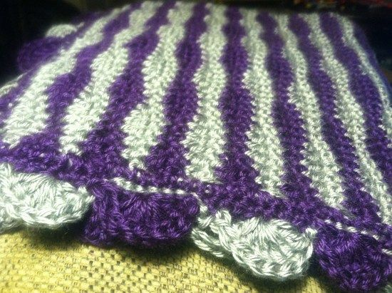 New Waves Stitch with Two-Color Treble Trim Crochet Blanket Pattern ...