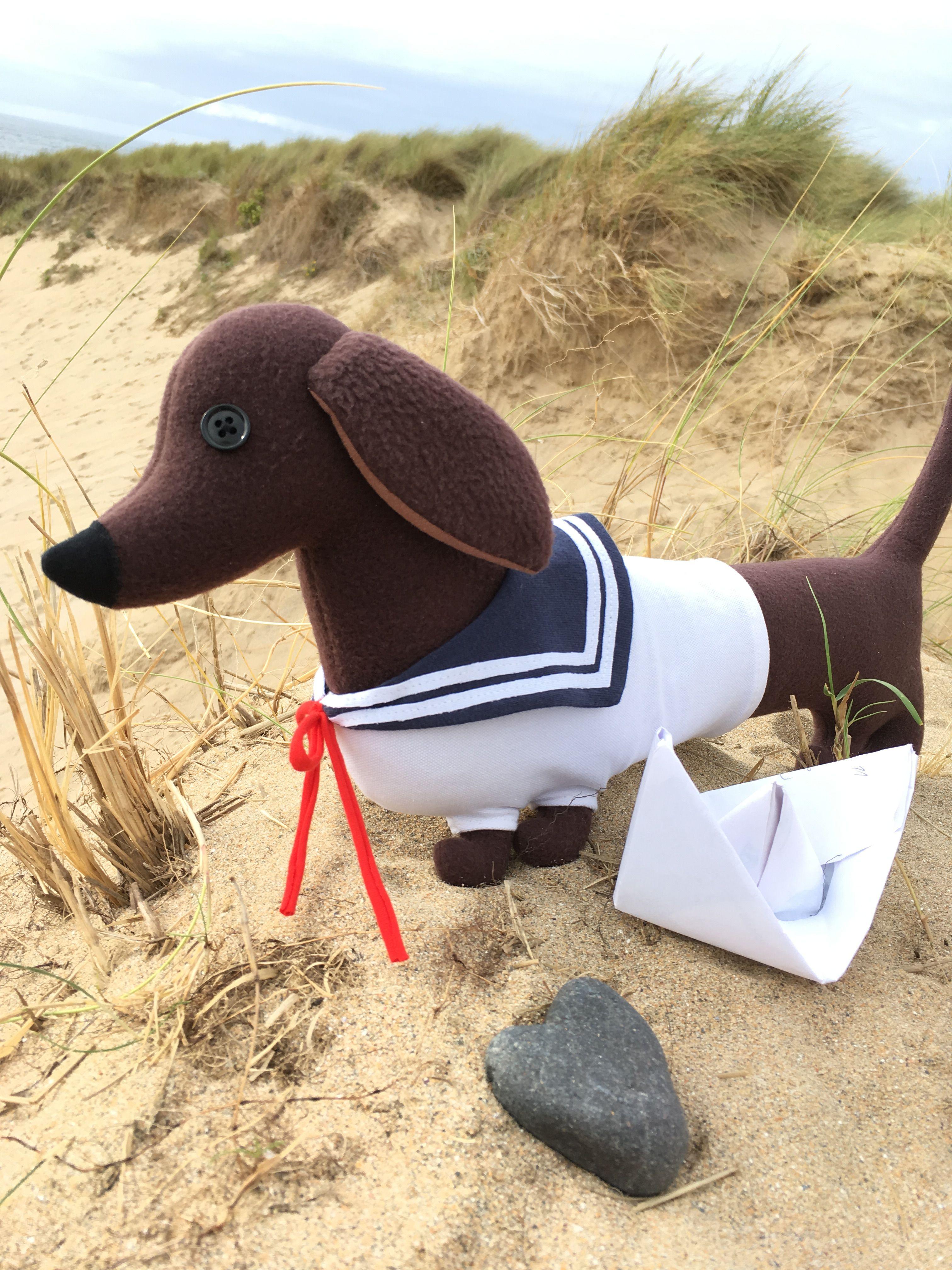 Sailor Dachshund, a unique sausage dog shaped cushion by