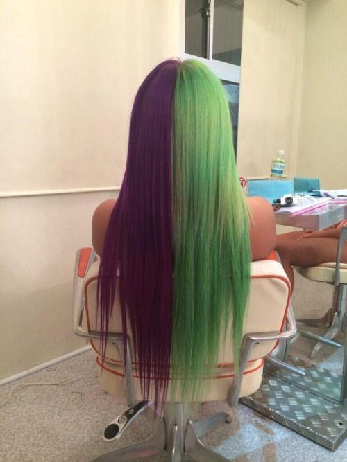 Green Hair Forever Hair Color For Black Hair Half Colored Hair Half And Half Hair