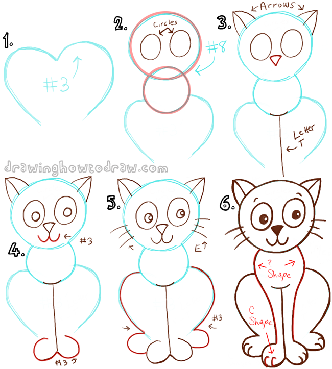 Big Guide To Drawing Cartoon Cats With Basic Shapes For Kids How To Draw Step By Step Drawing Tutorials Cartoon Cat Drawing Cartoon Drawings Cat Drawing Tutorial