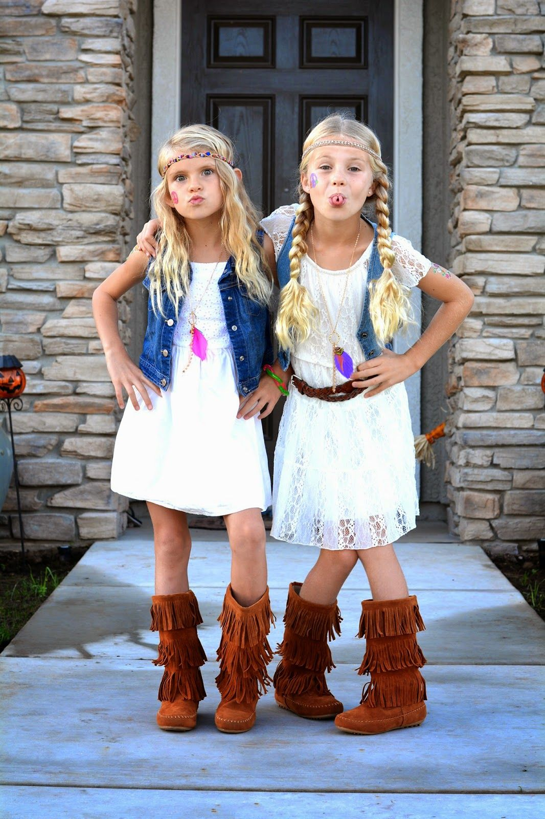 It's Hippie Day at the girls school today. We rummaged through our closets  and came up with some pretty cute hip… | Hippie costume, Hippie outfits,  Hippie halloween