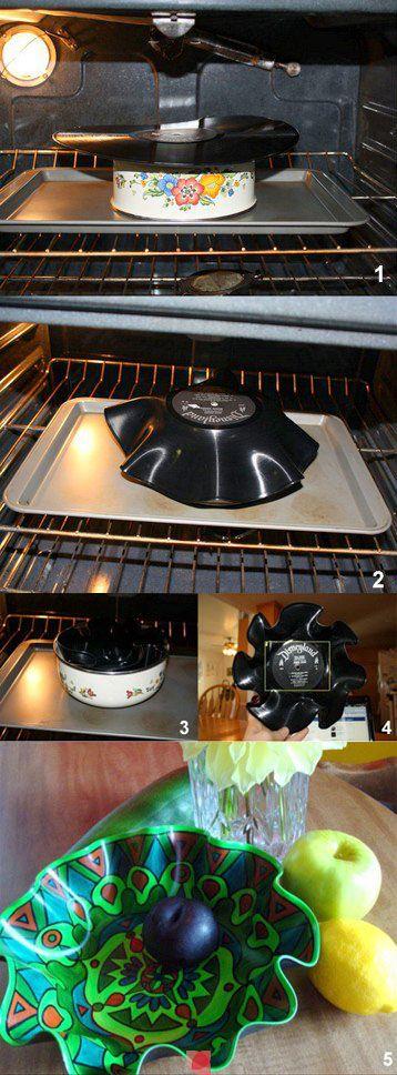 plattensch ssel schrit f r schritt ideen aus schallplatten pinterest basteln ideen und deko. Black Bedroom Furniture Sets. Home Design Ideas