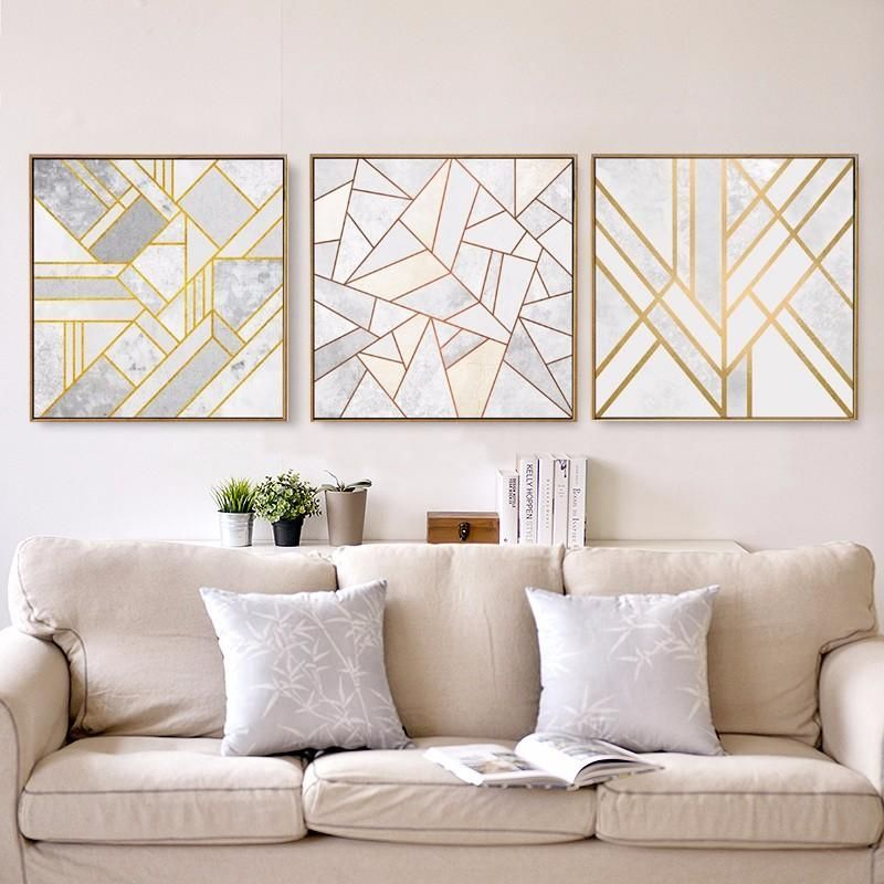 Abstract Geometric Canvas Painting Grey Gold Red Nordic Posters Wall Art Picture Living Room Home Decor Unframed Drop Shipping Wall Art Living Room Room Wall Art Living Room Pictures