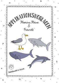 kostenlose Applikationsvorlage maritim Möwe Hai Wal Delfin free applique pattern Fabelwald