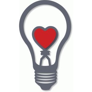 Silhouette Design Store: love heart light bulb - lamp