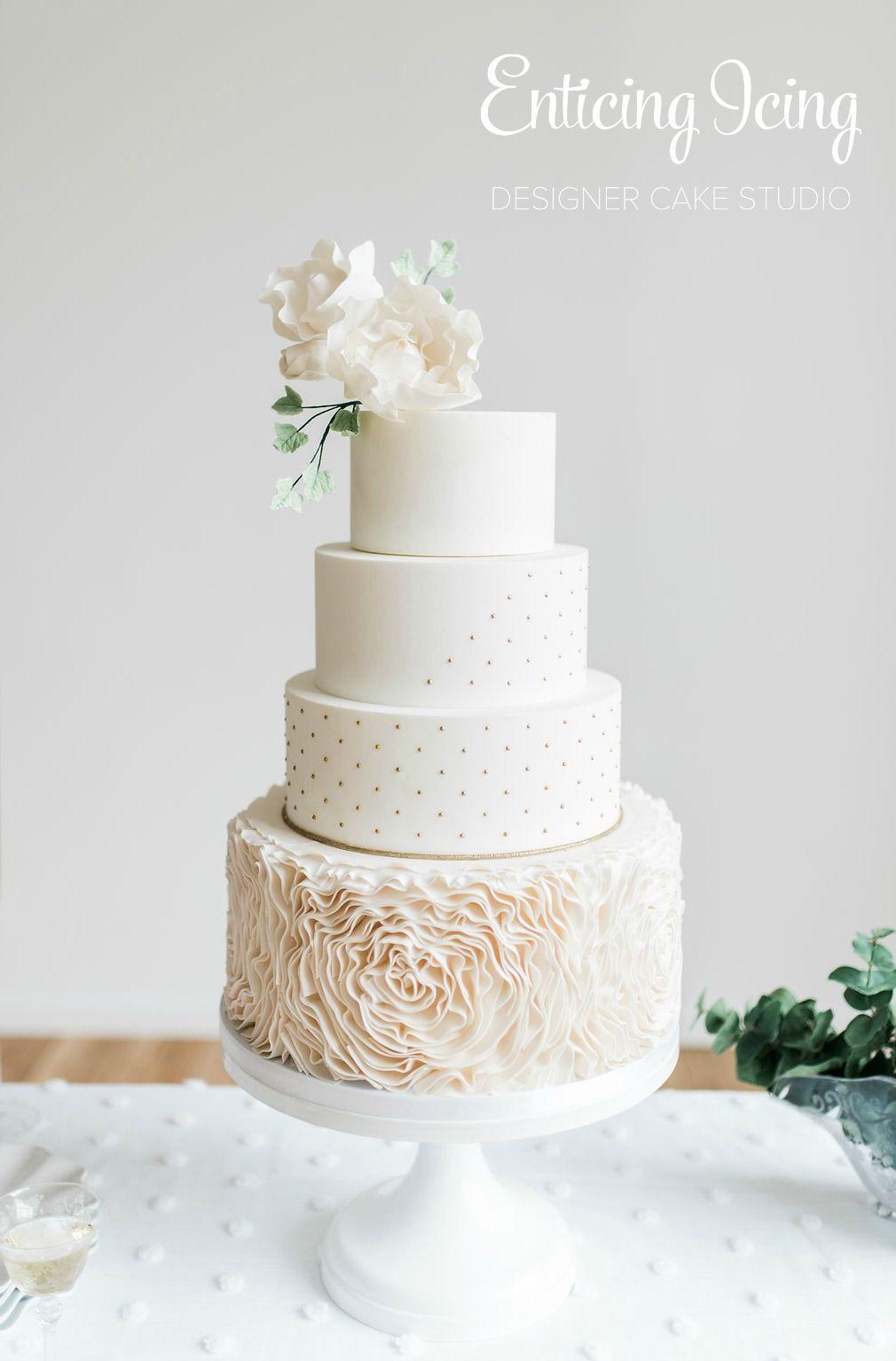 4 tier wedding cake • romantic elegant simple • blush gold white ...