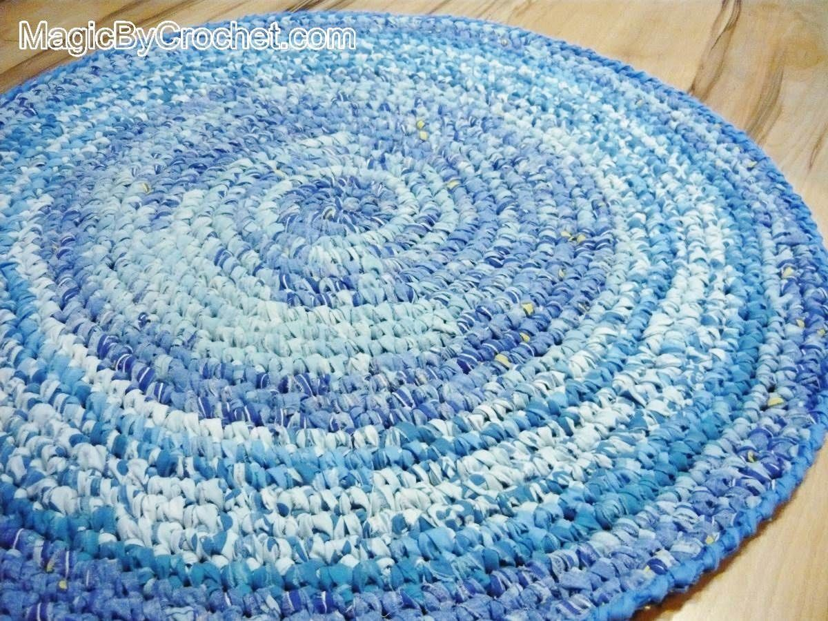 Blue Rag Rug - Nursery Rug - Kitchen Rug - Handmade Rug - 3 foot ...