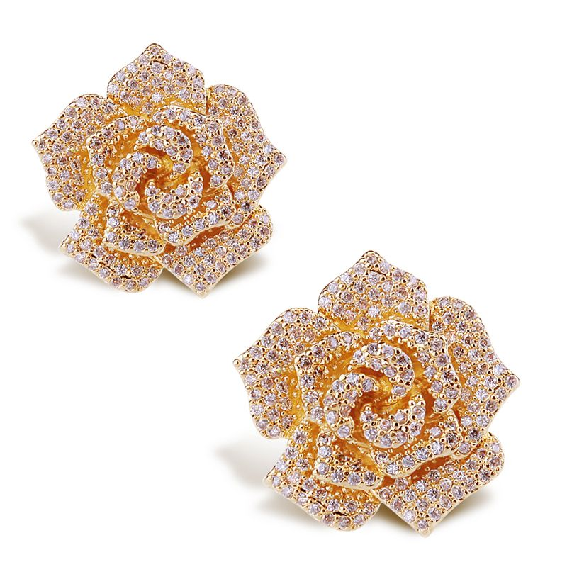 Find More Information about Flower earrings Top quality Real gold ...