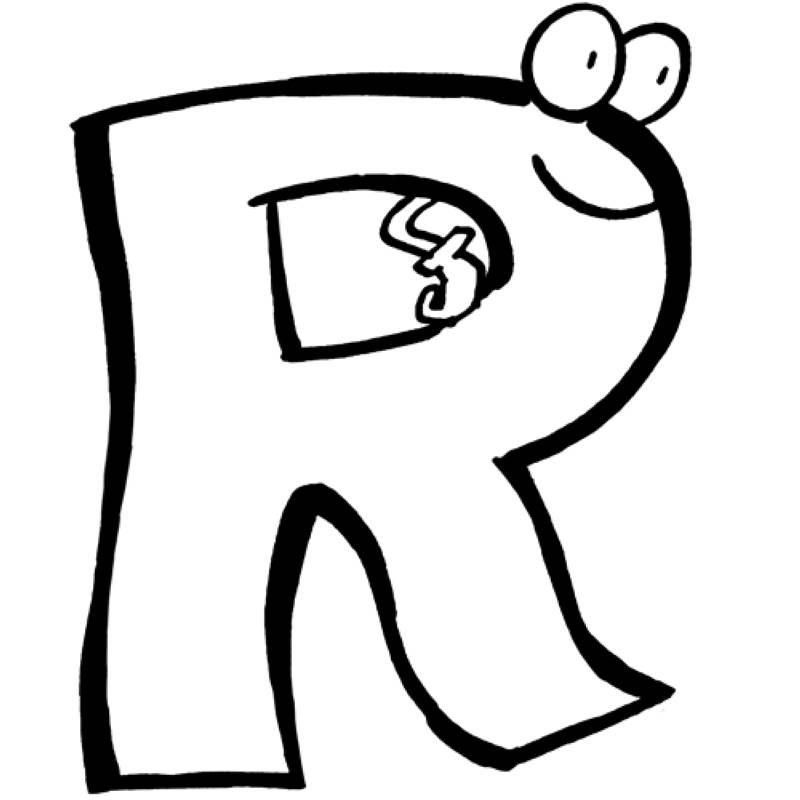 das alphabet beim ausmalen lernen der buchstabe r wartet