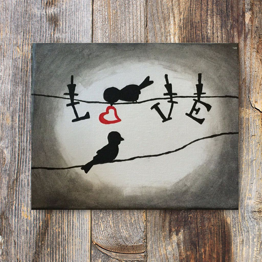 Popular Items For Love Birds Art On Etsy More