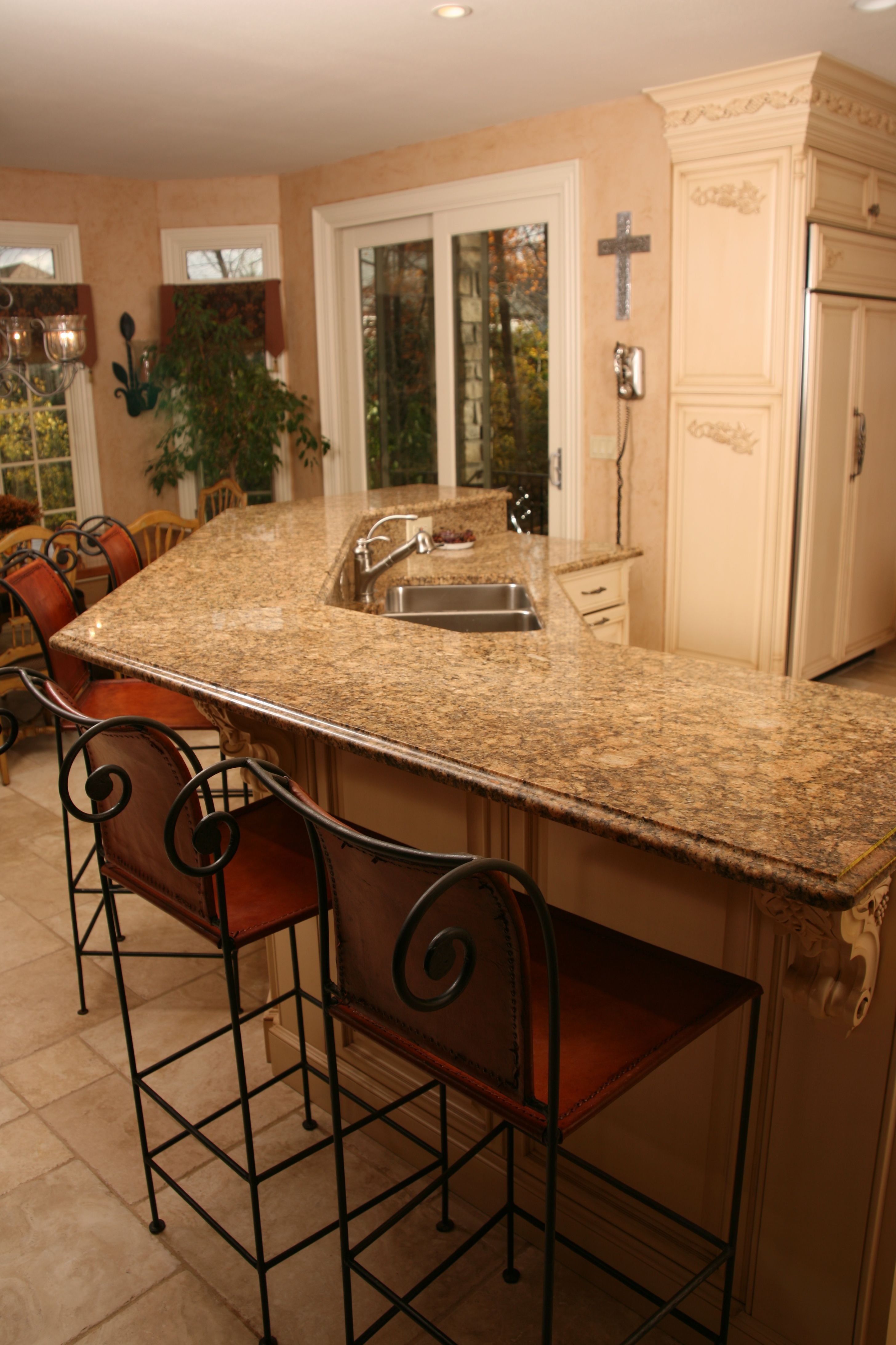 Beautiful Kitchen Island With Raised Bar Top In Giallo Fiorito 3 Cm Ogee Edge