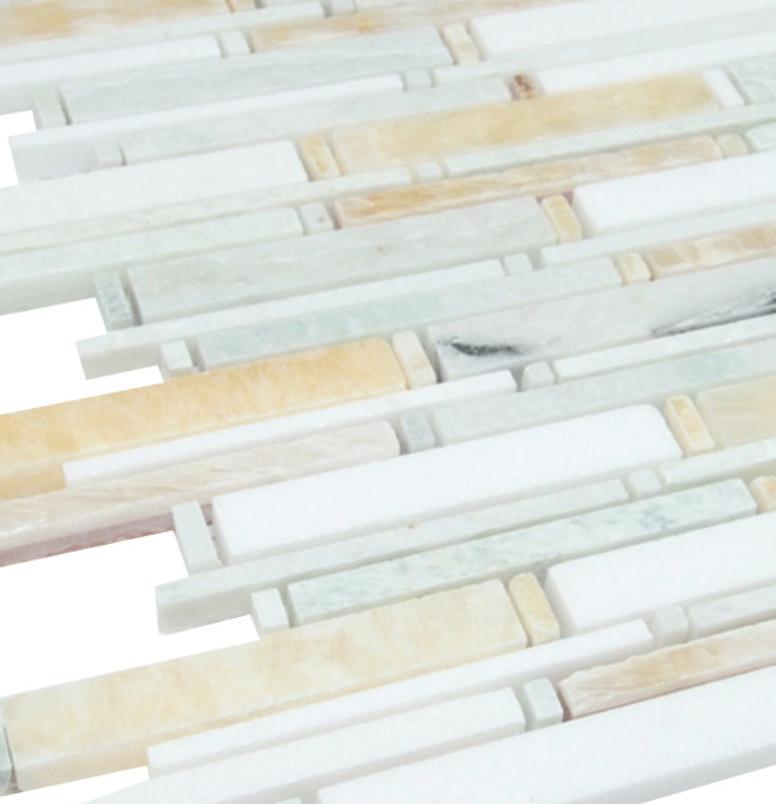 "Honey, Mint and White Matte Random Brick Pattern Marble Stone Tiles Product Description Sheet Size: 14 1/4"" x 12"" x 3/8"" Style Size: Random Finished: Polished HTCESMA1"