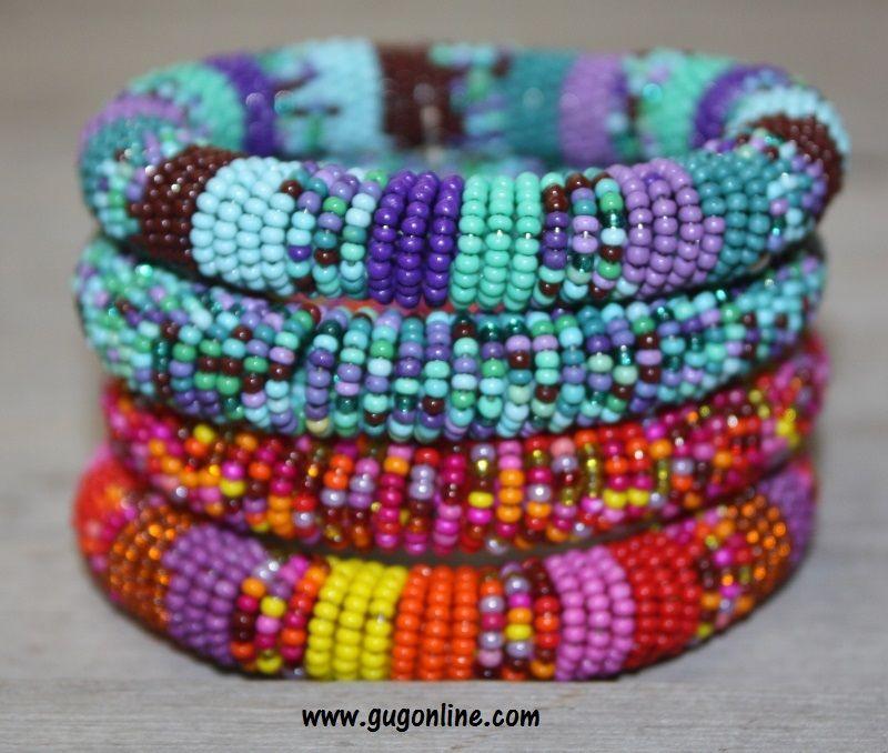 Gypsy Soule Set of 4 Stretch Beaded Bracelets-Fire & Water Tone
