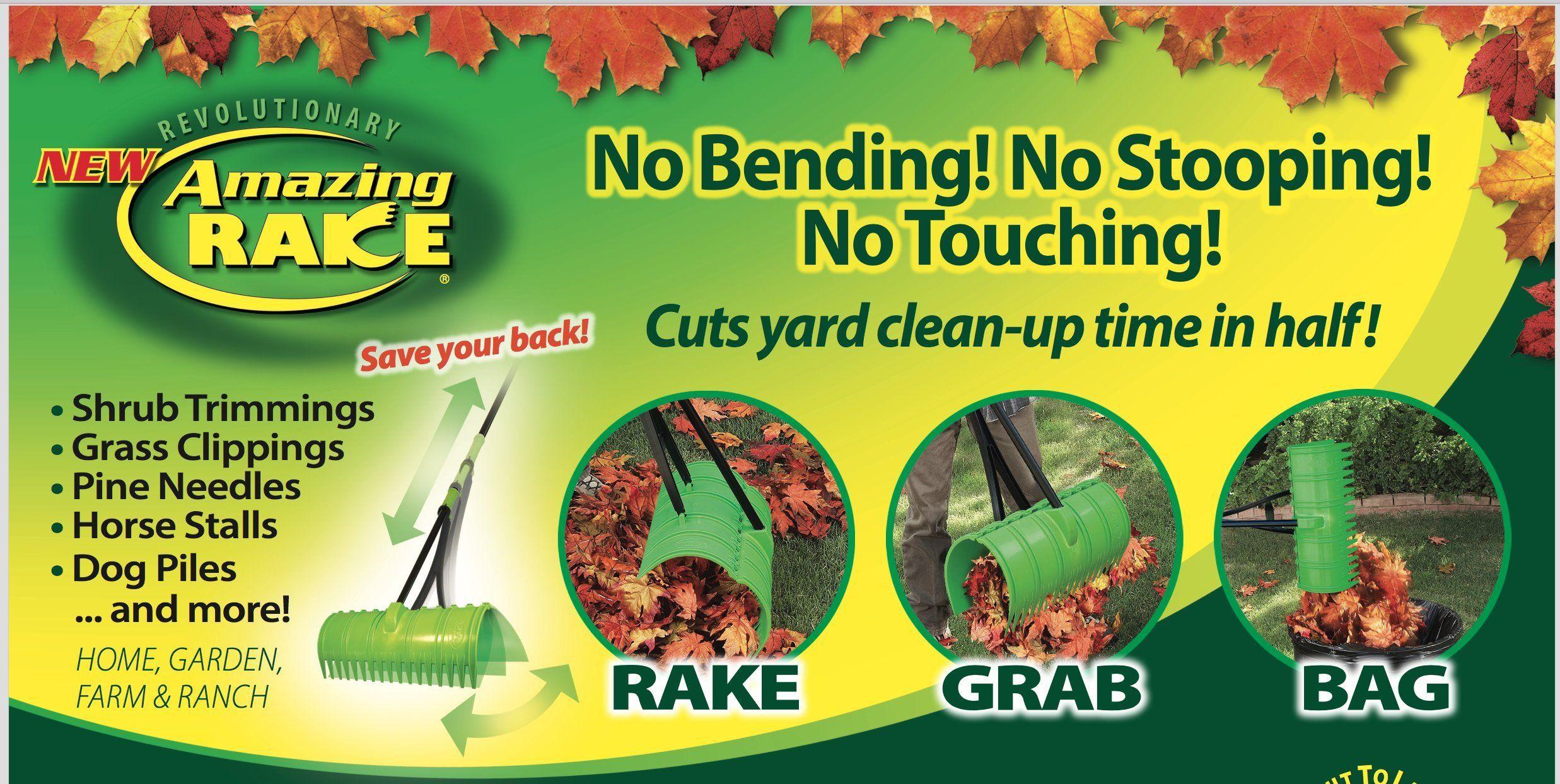 Amazing Rake 3in1 Yellow Ergonomic Lightweight 17inch Lawn Leaf Grabber Claw Yard Garden Pickup Tool For Leaves Grass Pine Pine Needles Outdoor Gardens Grass