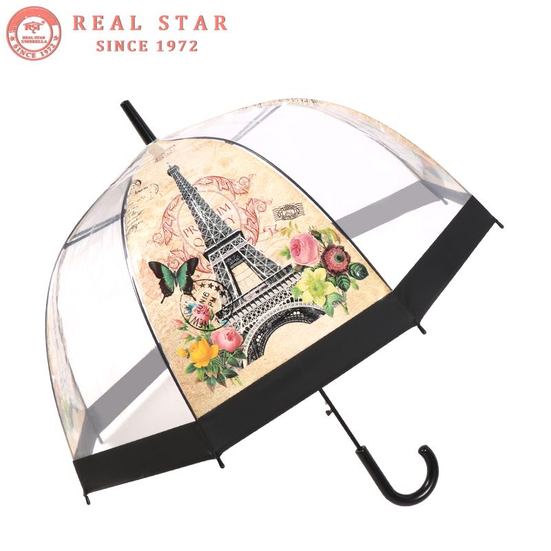 RST Real Star New Stick Long Building Print clear umbrella Transparent Dome Birdcage Umbrella new products #clearumbrella