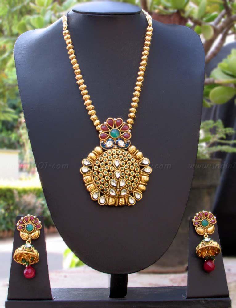 Designer Kundan, Pearl & Polki Necklace Set – India1001.com