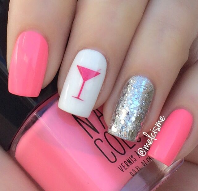 Pink nail polish with a silver glitter accent nail plus a martini ...
