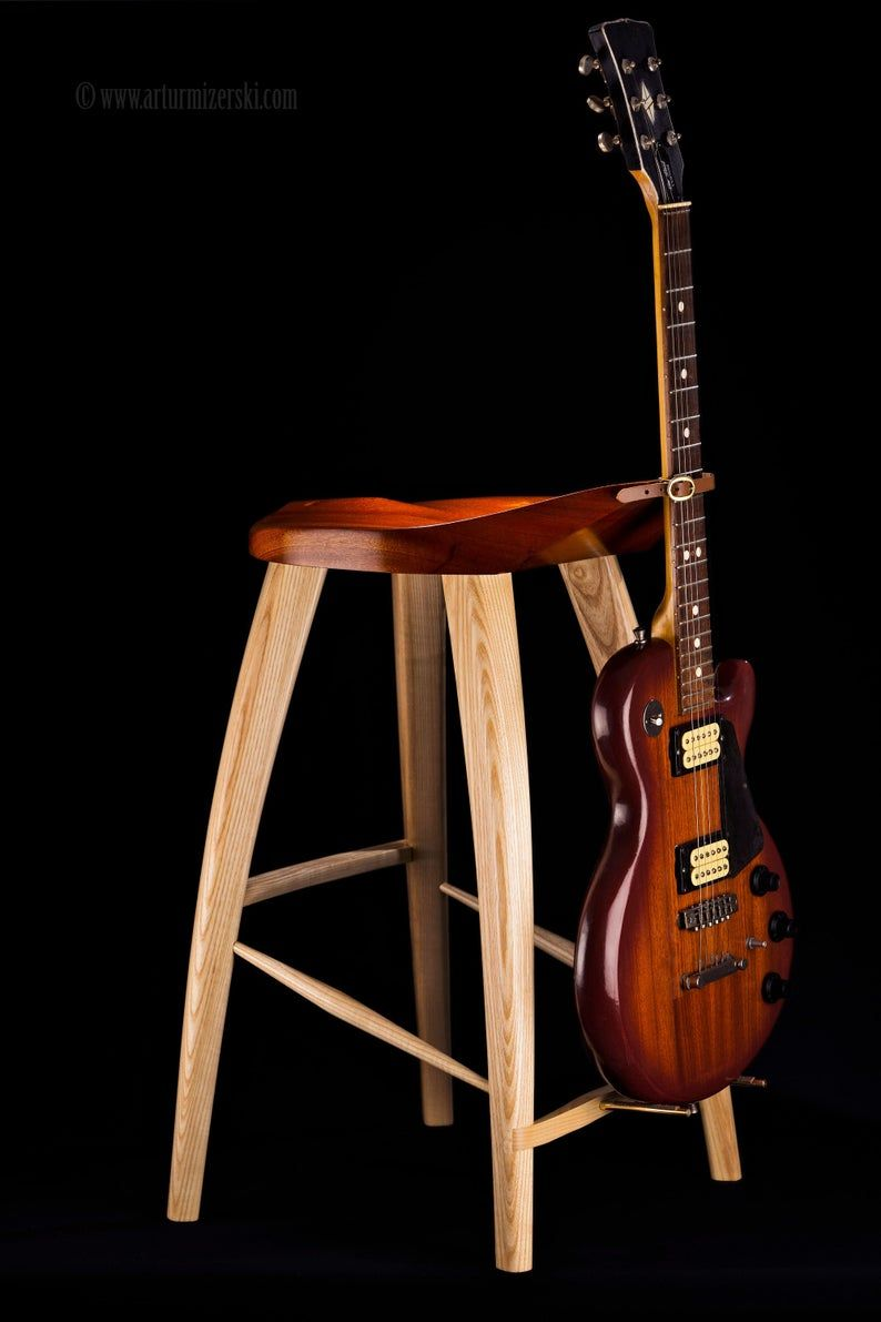 Guitar stool / guitar stand, wood - sapele and ash finished with leather and brass