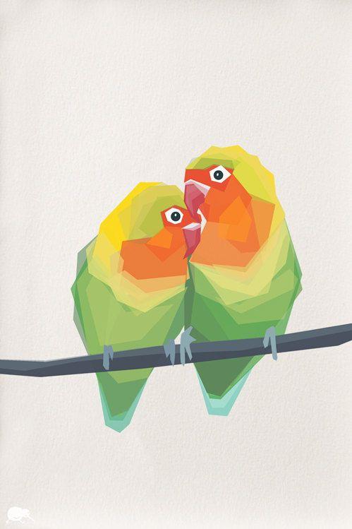 Pair Of Love Birds Geometric Art Minimal Arte Animal