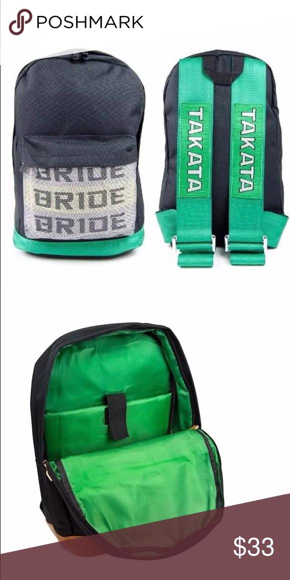 Jdm Green Takata Backpack Jdm Bride Racing Backpack Gr Green Takata Racing Harness Shoulder Straps Backpack Bride Keych Backpacks Backpack Bags Laptop Pocket