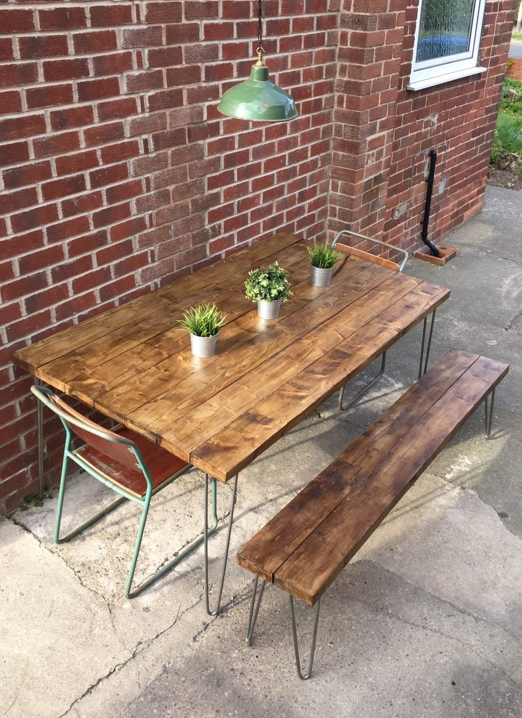 Industrial Dining Table And Seating Bench Hair Pin Legs Rustic Shabby Chic Industrial Dining Table Dining Table Dining Table With Bench