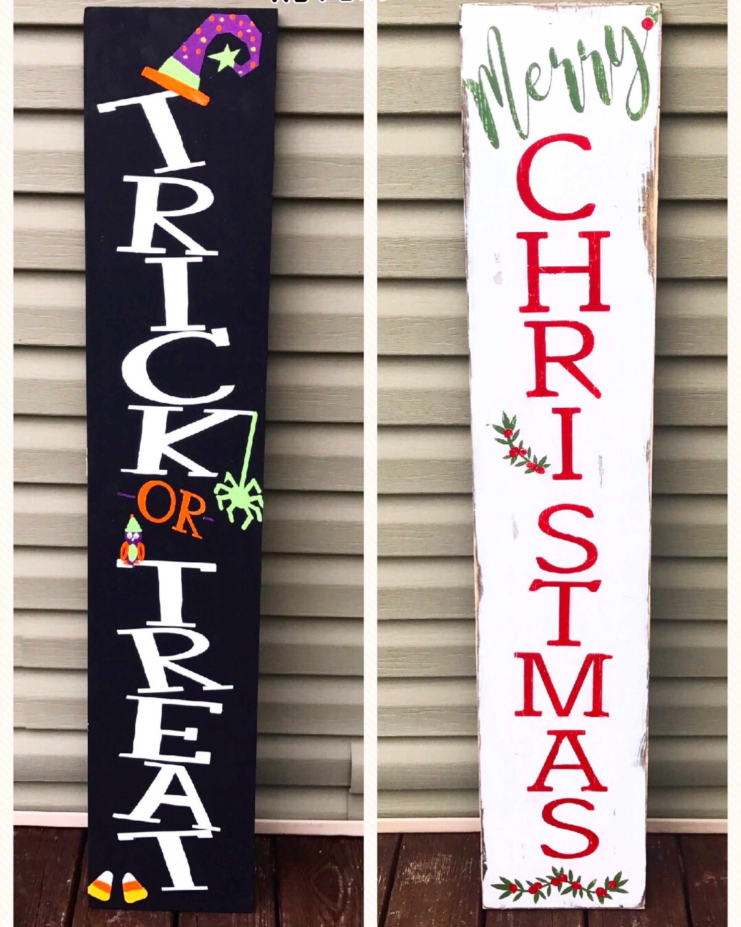 Harvest Sign On Barnwood For Fall Front Porch Decor: Reversible Porch Sign, Harvest Porch Sign, Merry Christmas