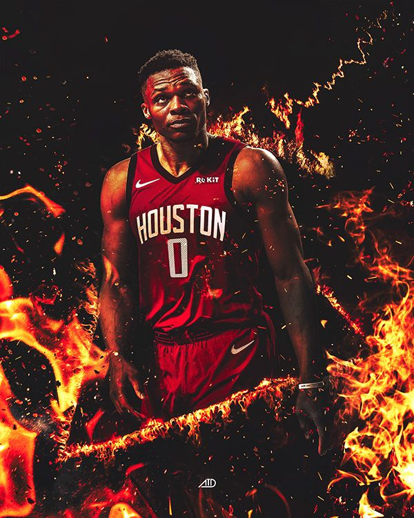 NBA Artwork Russell Westbrook Houston Rockets Design on