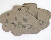 Hello Brown Kraft Shell Shape Tags -- Qty 20 Tags -- Fancy Shell -- Homemade Paper Goods -- Custom Sizes and Shapes Available
