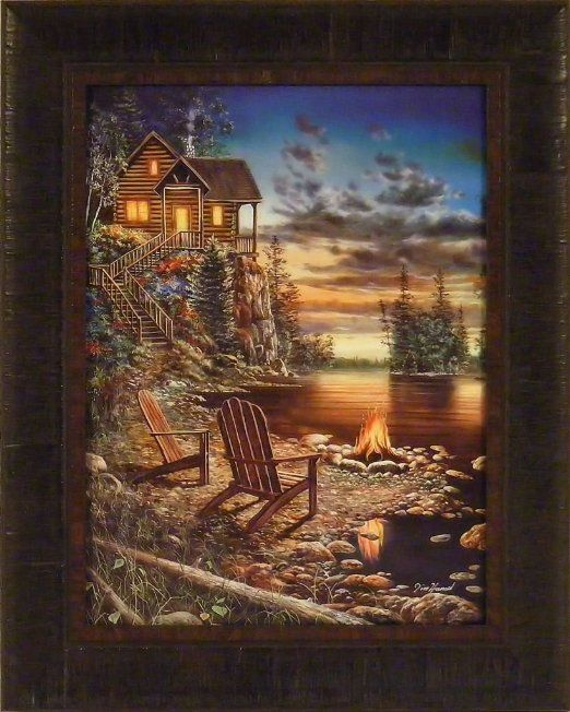 Summer Pleasures By Jim Hansel 17x21 Log Cabin Campfire