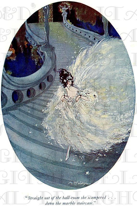 A Gorgeous Fleeing CINDERELLA. VINTAGE Illustration. Fairy Tale ...
