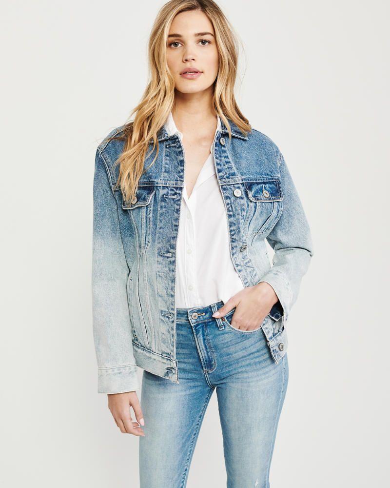 Womens Ombre Girlfriend Denim Jacket Womens Coats Jackets Abercrombie Com Denim Jacket Women Denim Jacket Womens Ombre
