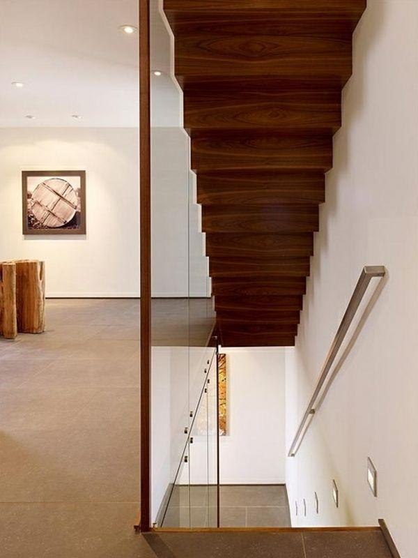 Designer Treppen einrichtungsideen treppen holz glasgeländer dekoration treppe
