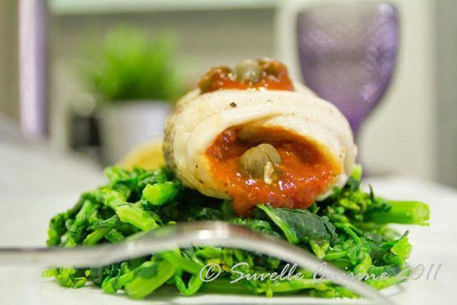 Suvelle Cuisine: Enrolados de Peixe com Pasta de Tomate e Alcaparras ao Vapor sob Cama de Grelos