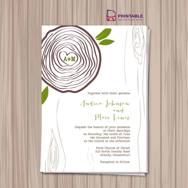 FREE PDF Download. Rustic Tree Ring Wedding Invitation Template. For ...