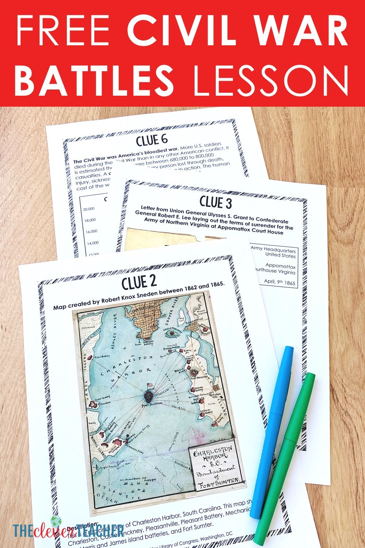 Free Civil War Battles Lesson!   Homeschool social studies [ 1500 x 1000 Pixel ]