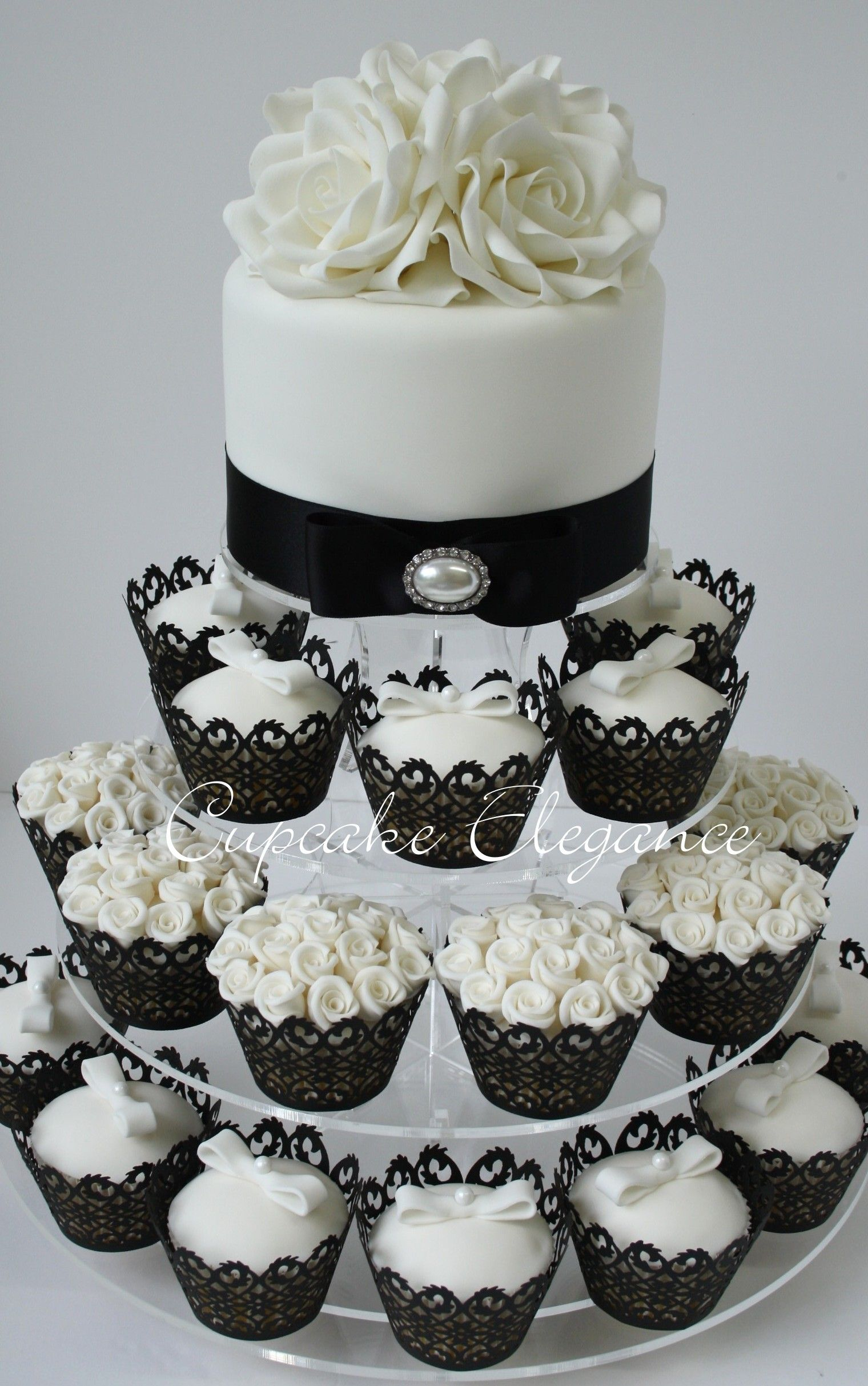 Amberly\'s blog: A black and white damask wedding cake atop a tower ...