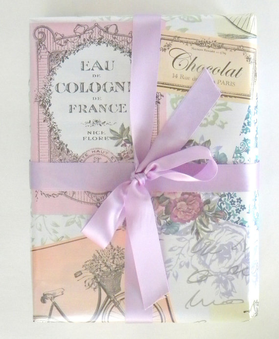 Vintage Paris Themed Feminine Wrapping Paper 10 Ft Roll With A Pearl Finish Spring Flor Wedding Gift Wrapping Wedding Gift Wrapping Paper Rustic Gift Wrapping