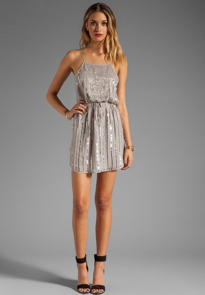 Rory Beca Mo Beaded Low Back Dress in Silver - Lyst