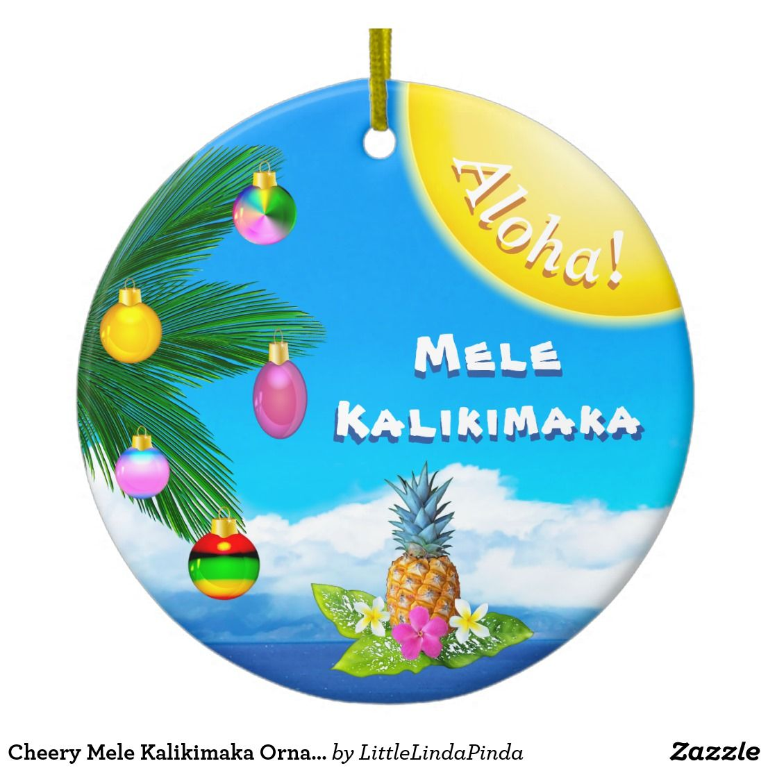 Bright Cheery Mele Kalikimaka Ornaments. 2 Sided Ceramic Hawaiian ...