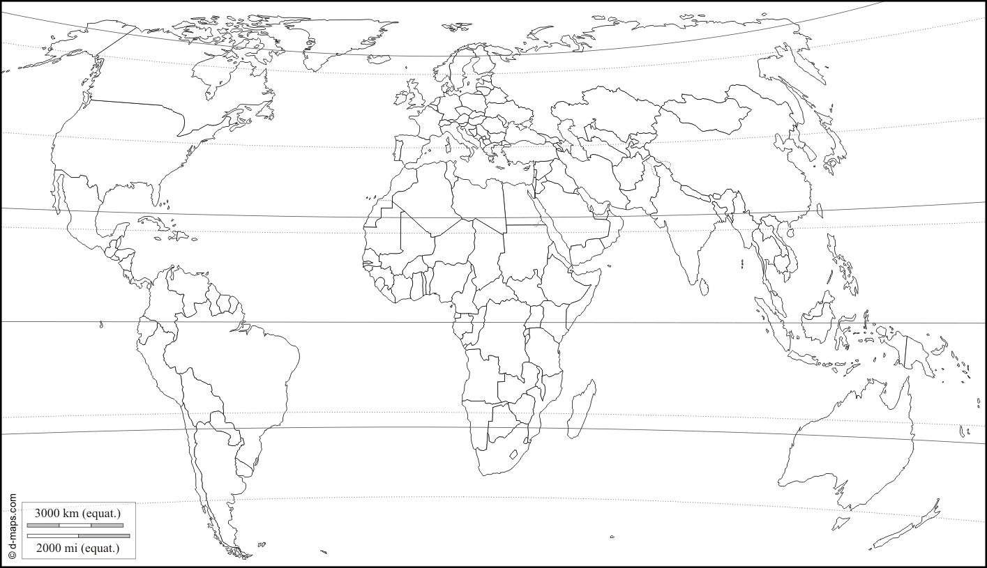 Blank World Map With Latitude And Longitude Lines