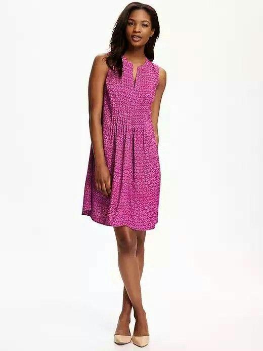 2c7607b72c Sleeveless Pintuck Swing Dress for Women  32.94 Pink Print Old Navy ...