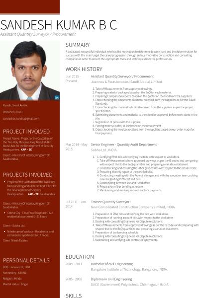 Assistant Quantity Surveyor Procurement Resume Example Resume Resume Examples Cv Examples