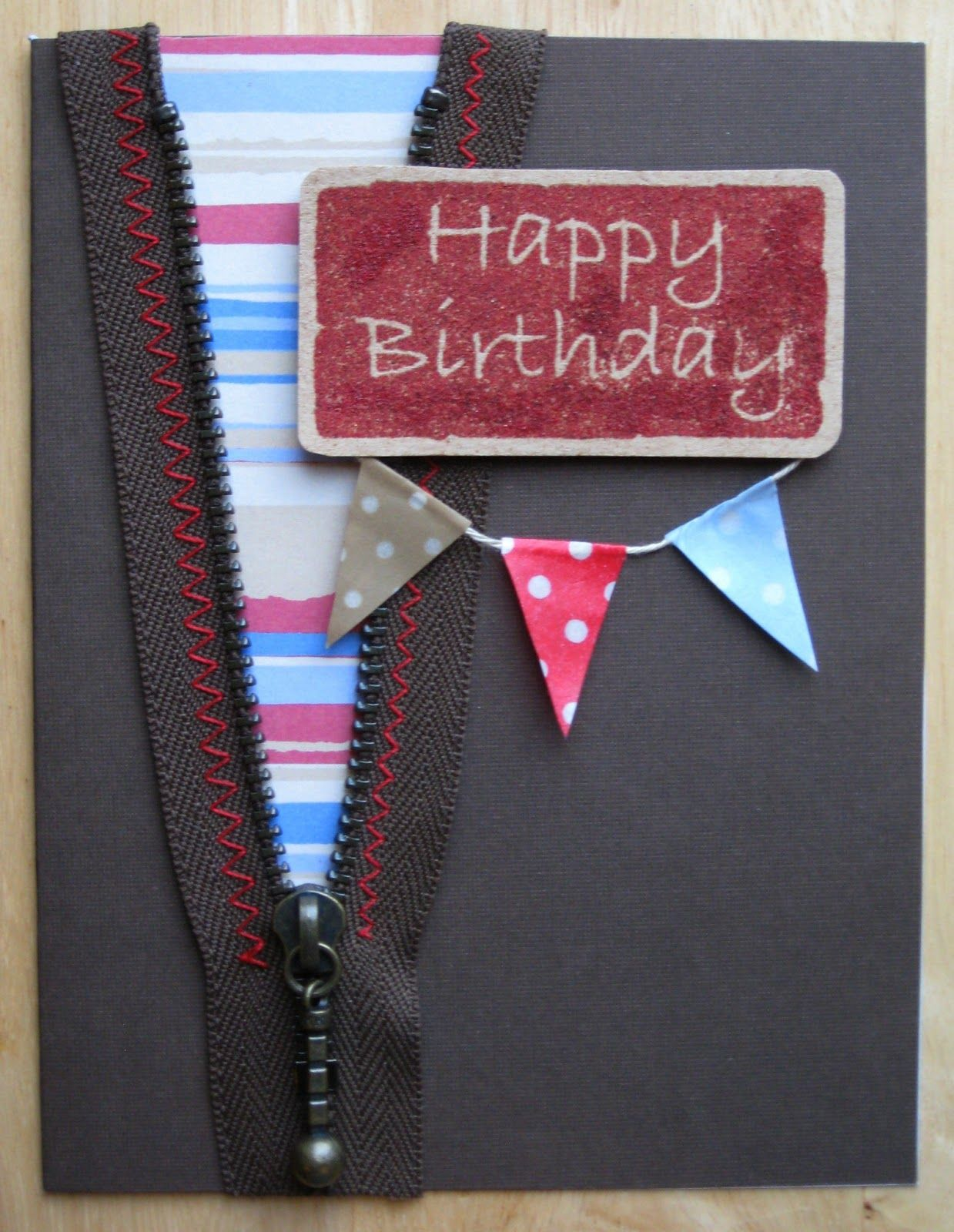 a zipper with a fun zip pull to embellish a boys birthday ...