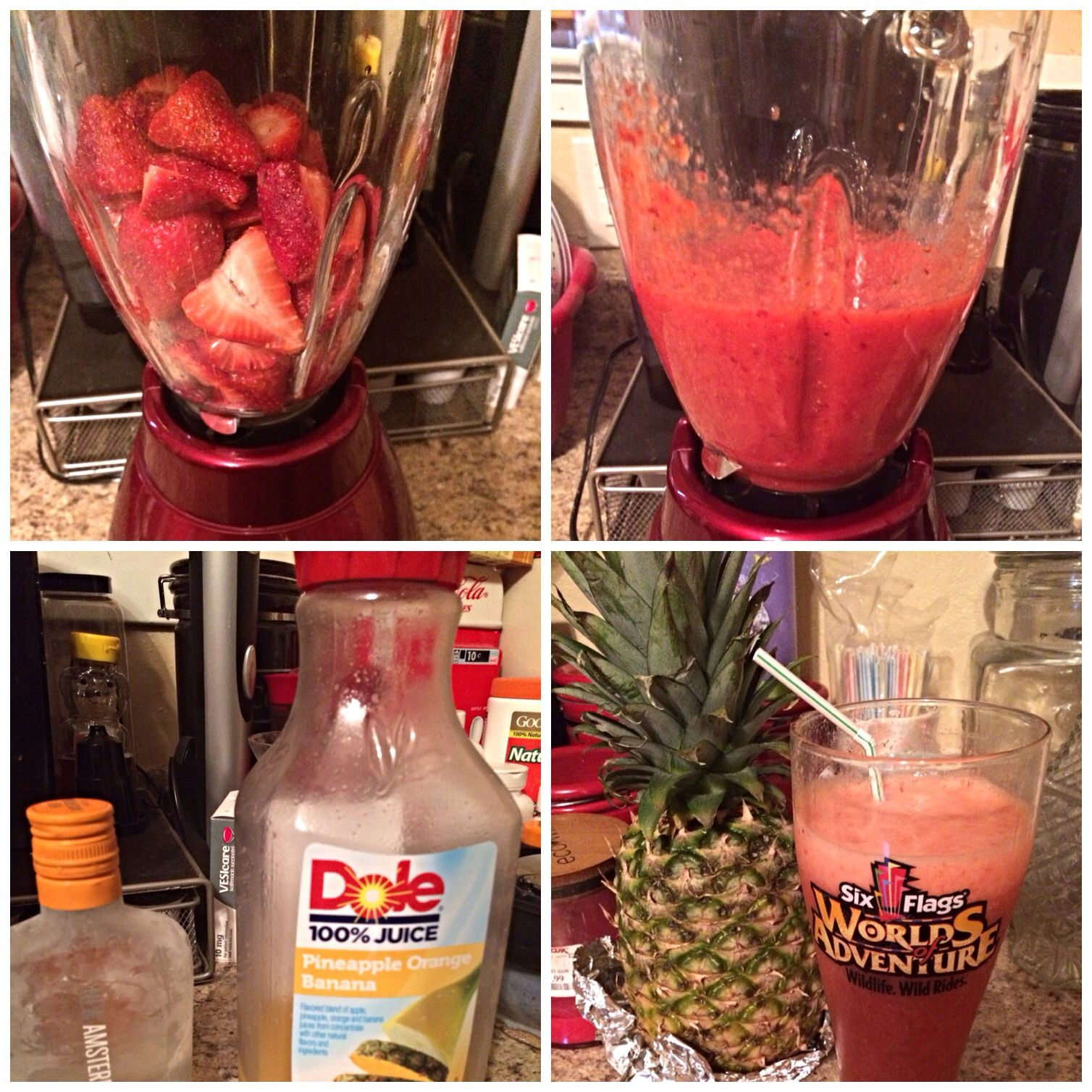 Strawberries Dole Pineapple Orange And Banana Juice Amsterdam Peach Vodka A Frozen Strawberry M Peach Drinks Drinks Alcohol Recipes Mixed Drinks Recipes