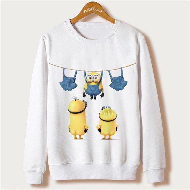 Casual Hoody Kawaii Women Full Sleeve Cute Cartoon Minion Print White Polerones Sudaderas