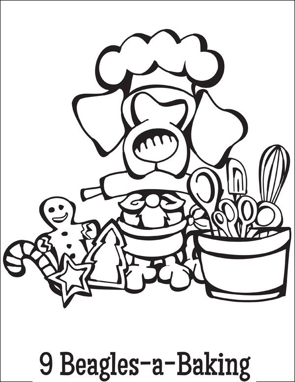 Free Coloring Page Download … 9 Beagles-a-Baking from the Twelve Dogs of Christmas
