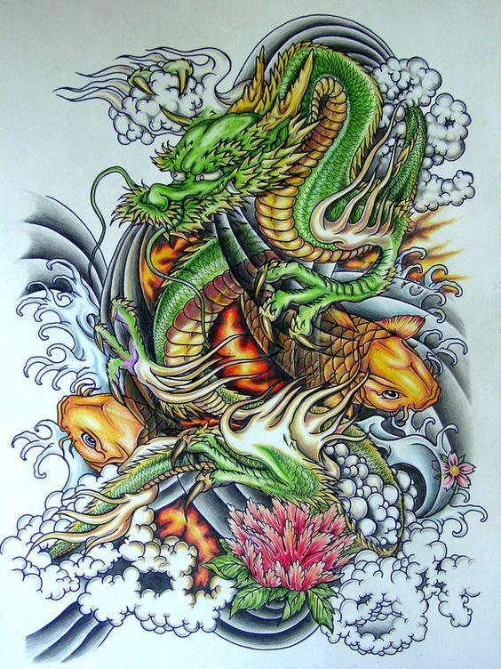 Resultado de imagen para dragón chino dibujo a colores | Tattoos ...