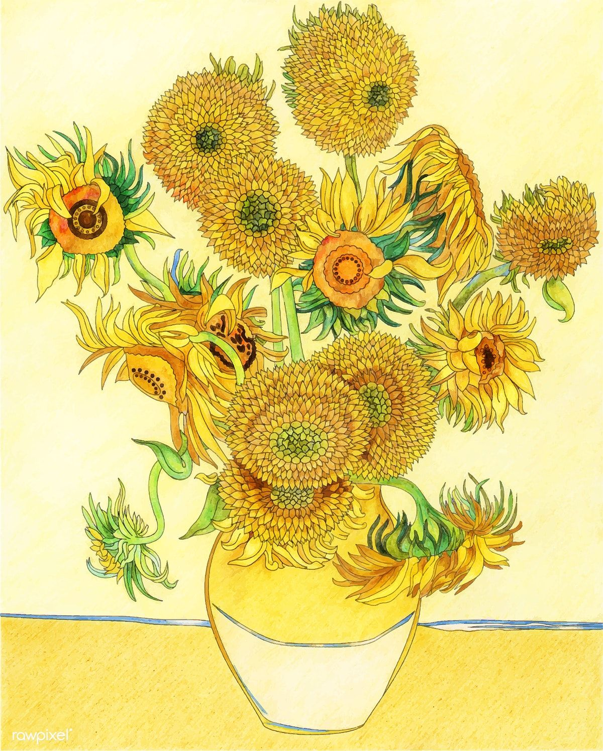 Sunflowers 1889 By Vincent Van Gogh Adult Coloring Page Free