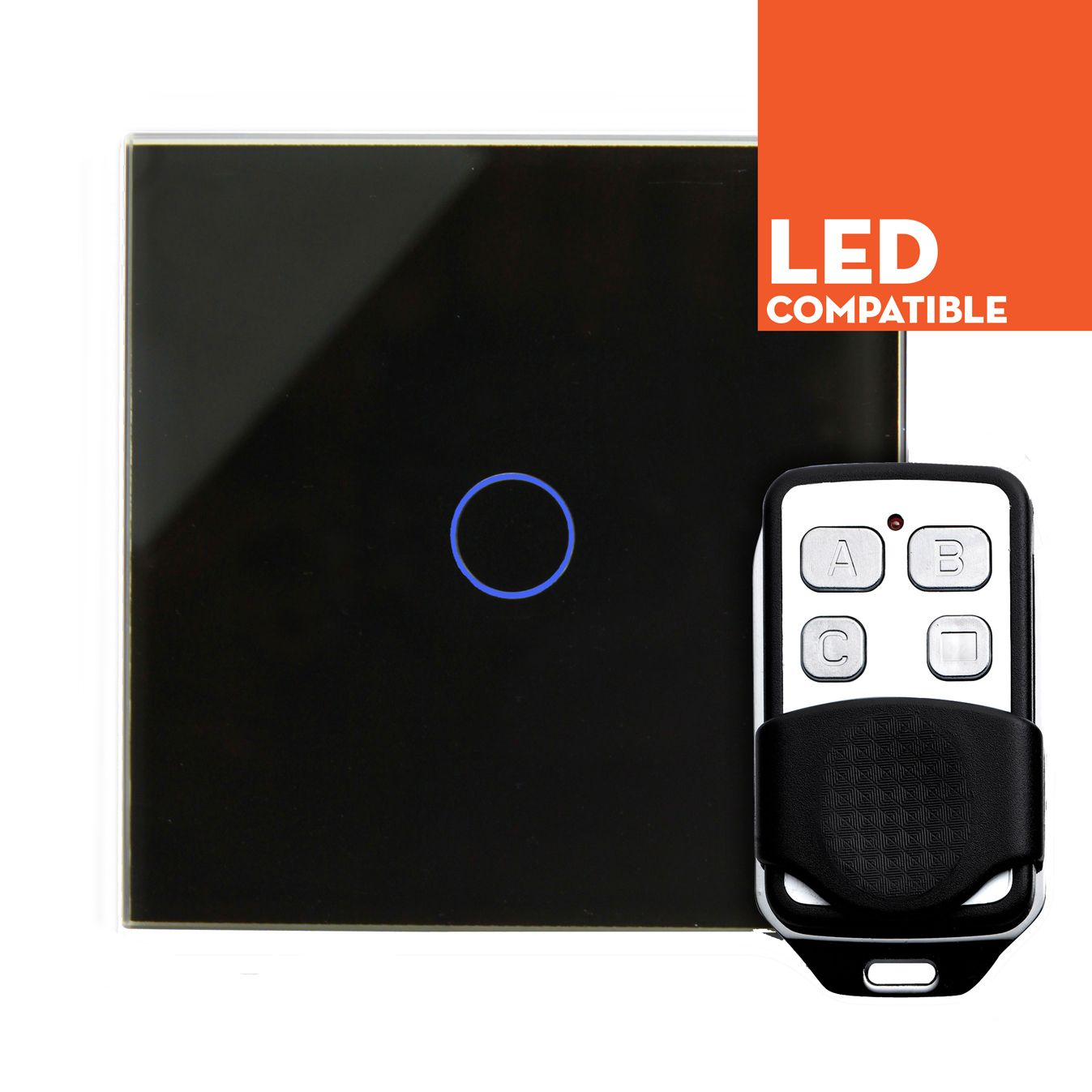RTS2040DL LED Dimmer Touch & Remote Light Switch 1 Gang Black Glass ...