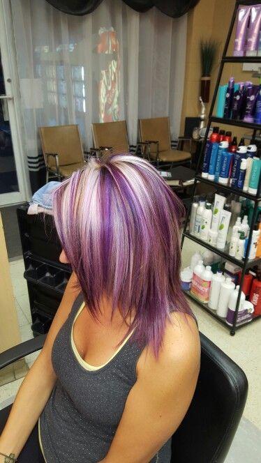 Purple Blonde Highlights Violine Pinterest Cheveux